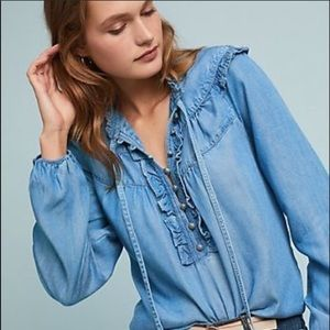 Anthropologie Maeve pilcro ruffled chambray top